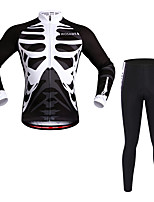 Cycling Jersey with Tights Unisex Long Sleeves Bike Clothing Suits Reflective Strip Quick Dry Stretchy Spandex Polyester Bone Autumn/Fall