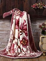 Недорогие -Коралловый флис, С принтом Цветочные / ботанический Полиэфир/полиамид одеяла
