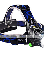 cheap -Headlamps LED 1600 lm 3 Mode LED with Batteries and Charger Zoomable Adjustable Focus Impact Resistant Rechargeable Waterproof Night