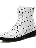 Men's Shoes Canvas Fall Winter Bootie Combat Boots Boots Booties/Ankle Boots Lace-up For Casual Party & Evening Black White
