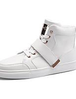 Недорогие -Для мужчин обувь Дерматин Зима Осень Удобная обувь Флисовая подкладка Кеды для Повседневные Белый Черный Красный