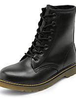 Для женщин Ботинки Удобная обувь Искусственное волокно Лето Осень Повседневные Шнуровка На плоской подошве Черный Коричневый КрасныйНа