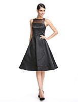 cheap -A-Line / Fit & Flare Illusion Neck Knee Length Stretch Satin Little Black Dress Cocktail Party / Prom Dress with Embroidery by TS Couture®