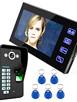 Ennio toque a tecla 7 LCD da câmera ir sistema de vídeo porteiro reconhecimento de impressões digitais intercom hd 1000 TVLine