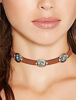 cheap -Women Bohemian Vintage Flower Turquoise Collar Necklace Simple Metal Velvet Choker Nacklace 1pc