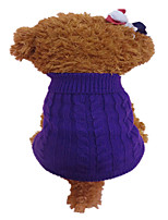 cheap -Dog Sweater Winter Dog Clothes Purple Orange Costume Acrylic Fibers Flower Fashion XS S M L