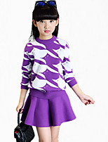 Girl's Casual/Daily Striped Clothing Set,Cotton All Seasons / Spring / Fall Black / Pink