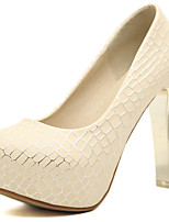 Women's Shoes PU Spring Fall Comfort Heels Chunky Heel Round Toe For Outdoor Office & Career Almond White