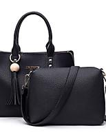 Women Bags All Seasons PU Bag Set 2 Pcs Purse Set for Casual Black Gray Red