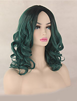 Fashion Natural Black To Green Color Curly Wig Synthetic Cosplay Wigs