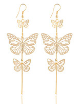 New Fashion Gold Silver Alloy Double Bow Butterfly Drop Earrings Jewelry Hollow Flower Long Tassel Earring Party Jewelry