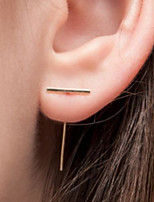 Women Fashionable Metal Earrings T Shape Strip Alloy Drop Earrings 1pair