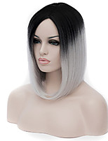 cheap -Synthetic Wig Straight Asymmetrical Wig Medium Length Black / Grey Synthetic Hair Women's Natural Hairline Black