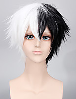 cheap -MONOKUMA Cosplay Black and White Color Short Hairstyle Halloween Cosplay Men Wigs Party Fashion Custome Wigs