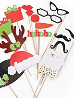 cheap -17pcs Photo Props Christmas Ornaments Christmas Cap & Red Lips & Mustache