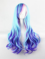 cheap -Blue Mixed Purple Wig Cosplay Long Wavy Curly Wig Heat Resistant Synthetic Wigs