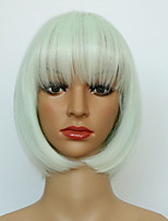 Cheap Short Straight White Color Wig Hight Quality Heat Resistant Wig