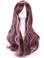 Cheap Halloween Long Wavy Brown to Pink Color Mixed Cosplay Synthetic Wigs
