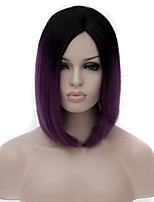 cheap -Synthetic Wig Straight kinky Straight kinky straight Straight Asymmetrical Wig Medium Length Purple Synthetic Hair Women's Natural Hairline Purple