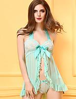 Nuisette & Culottes Ultra Sexy Vêtement de nuit Femme,Dentelle Jacquard-Mince Maille Spandex Bleu