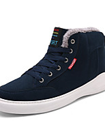 Men's Sneakers Comfort Cowhide Suede Fall Winter Casual Outdoor Lace-up Flat Heel Dark Green Dark Blue Black Flat
