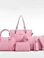 Women Bags All Seasons PU Bag Set Zipper for Casual Formal Blue White Black Red Blushing Pink