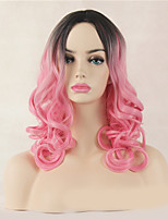 Fashion Natural Black To Pink Color Curly Wig Synthetic Cosplay Wigs