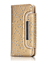 cheap -Case For iPhone 7 Plus iPhone 7 Apple iPhone 7 Plus iPhone 7 Card Holder Wallet Rhinestone with Stand Full Body Cases Flower Hard Genuine