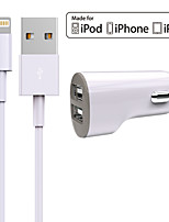 cheap -Charger Kit Car Charger 2 USB Ports with Cable For iPad For iphone 8 7 Samsung S8 S7(5V , 2.4A)