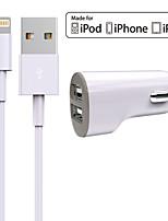 Недорогие -зарядное устройство автомобильное зарядное устройство 2 порта USB с кабелем для ipad для iphone 8 7 samsung s8 s7 (5v, 2.4a)
