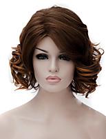 abordables -Pelucas sintéticas Rizado / Ondulado Medio Corte asimétrico Pelo sintético Entradas Naturales Marrón Peluca Mujer Corta / Longitud Media Sin Tapa