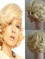 Femme Perruque Synthétique Court Ondulés Blond doré Partie latérale Avec Frange Perruque de Cosplay Perruque Halloween Perruque de
