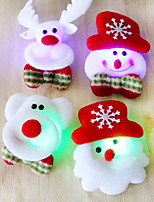 12PCS Christmas Santa brooch brooch flash fabric luminous Christmas Decoration Christmas gift(Style random)