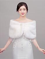 cheap -Women's Wrap Shawls Faux Fur Wedding / Party/Evening Shawl Collar Rhinestone Hidden Clasp