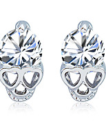 Women Exquisite Gold Plated Anti Allergy Skull Crystal Earrings Zircon Heart Shaped Stud Earrings  1 pair