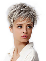 cheap -6 Synthetic Short Blonde Hair Wig Dark Root Female Pixie Cut Wig African American Wig For Women Cosplay Wigs