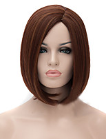 cheap -Synthetic Wig Straight kinky Straight kinky straight Straight Asymmetrical Wig Medium Length Medium Auburn Synthetic Hair Women's Natural Hairline Brown