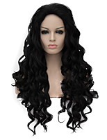 cheap -Synthetic Wig Curly Asymmetrical Wig Long Natural Black Synthetic Hair Women's Natural Hairline Black