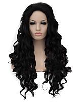 Недорогие -Парики из искусственных волос Кудрявый Ассиметричная стрижка Парик Длинные Черный Искусственные волосы Жен. Природные волосы Черный