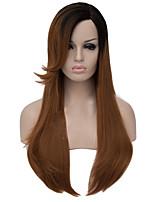 Недорогие -Парики из искусственных волос Прямой / Естественные прямые Ассиметричная стрижка Искусственные волосы Природные волосы Коричневый Парик