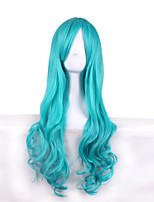 Long Wavy Cosplay Wigs Costume Party Bule Color Synthetic Wig