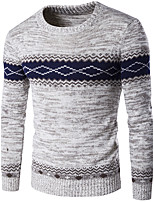 cheap -Men's Weekend Long Sleeves Pullover - Color Block Round Neck