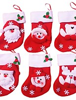 6Pcs/lot of Merry Christmas Socks Christmas Decoration For Home Santa Claus Gift Christmas Ornaments Decoration