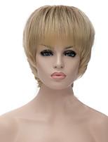 billiga -Syntetiska peruker Rak / Yaki Guld Asymmetrisk frisyr Syntetiskt hår Naturlig hårlinje Guld / Blond Peruk Dam Korta Utan lock Blekt Blont