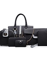 Women Bags PU Bag Set Zipper for Casual Formal All Seasons Black Red Gray Brown