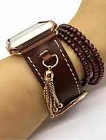 abordables -Reloj de la venda para el reloj de la joyería hebilla clásica venda del reemplazo del cuero genuino con la borla pendiente