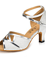 Women's Latin Glitter Heel Indoor Buckle Splicing Bronze Silver Gold Customizable