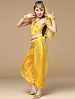 Shall We Belly Dance Outfits Women's Performance Polyester Sleeveless Dropped Tops Pants Waist Accessory