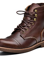 cheap -Men's Shoes Nappa Leather Winter Fall Cowboy / Western Boots Motorcycle Boots Combat Boots Boots Mid-Calf Boots for Athletic Outdoor