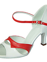 Women's Latin Faux Leather Sandals Performance Buckle Stiletto Heel Red/White 3